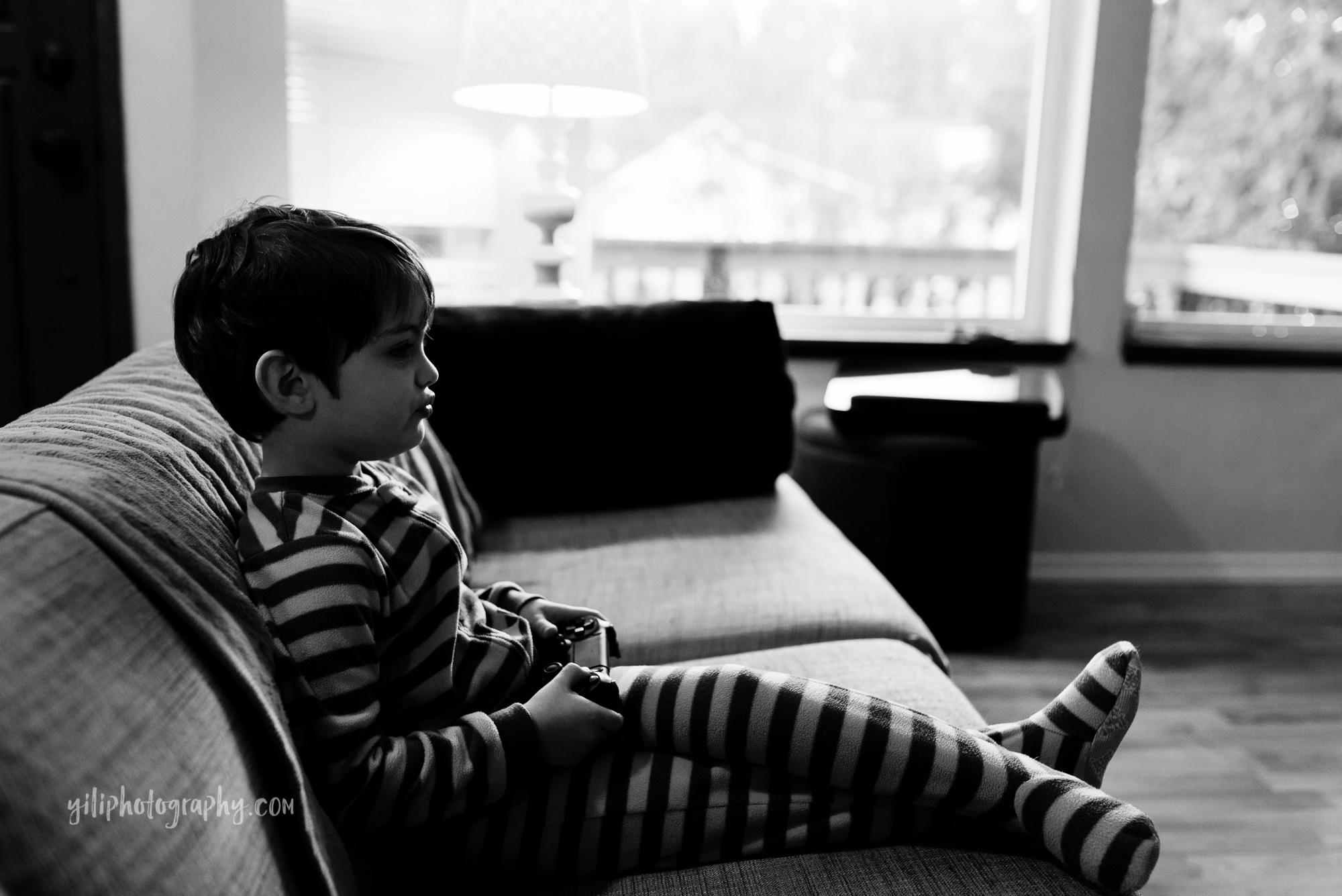 Seattle toddler boy playing video games
