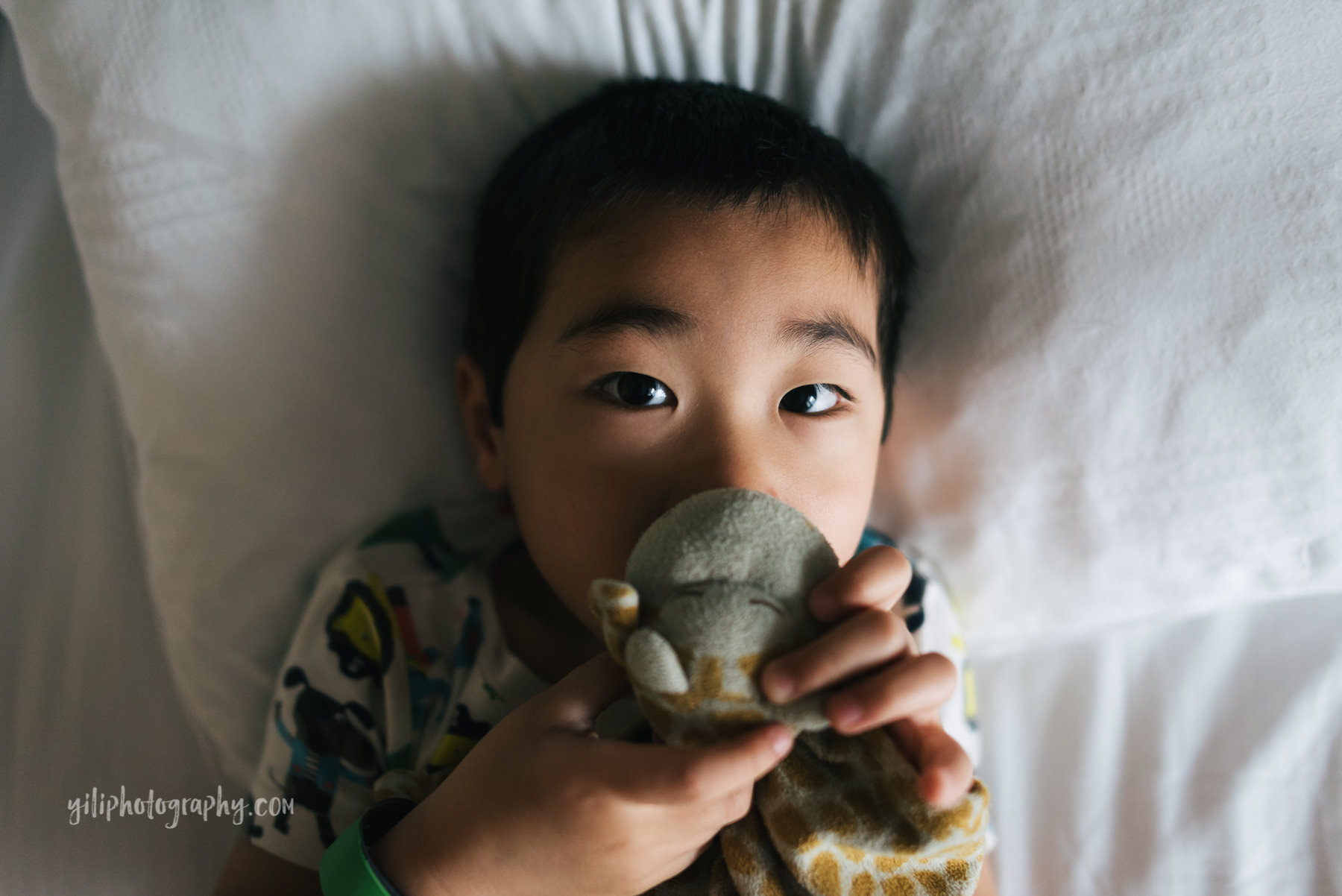 little boy holding lovey in bed