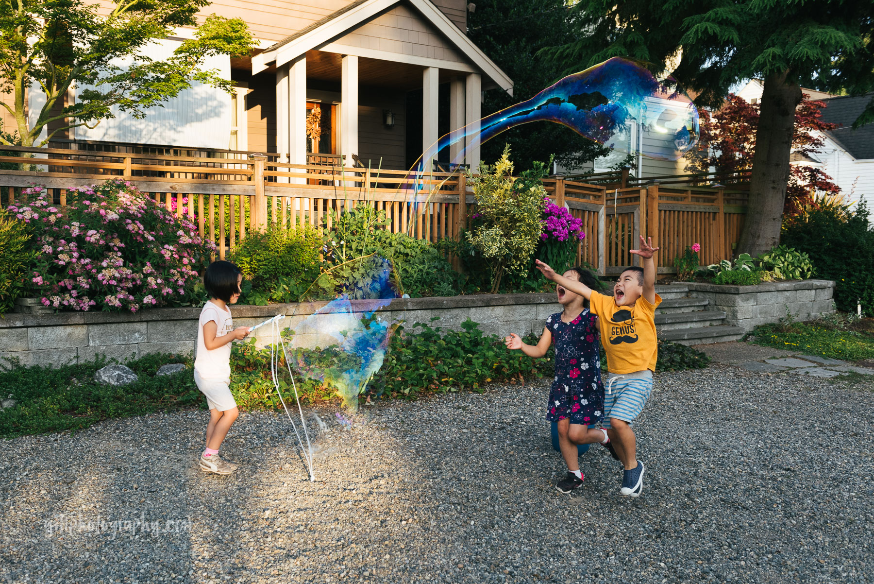 little girl making a giant bubble that her brother and sister are trying to pop