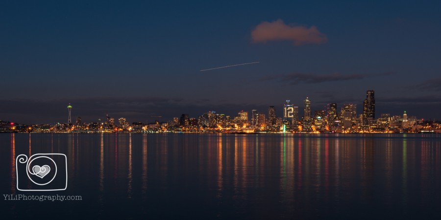 Seattle night skyline, Seattle cityscape
