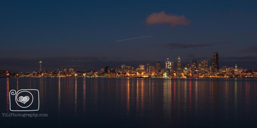 Seattle night skyline, Seattle cityscape