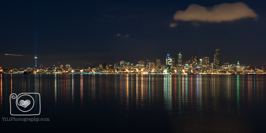 Seattle night skyline, Seattle cityscape, 12th man lights