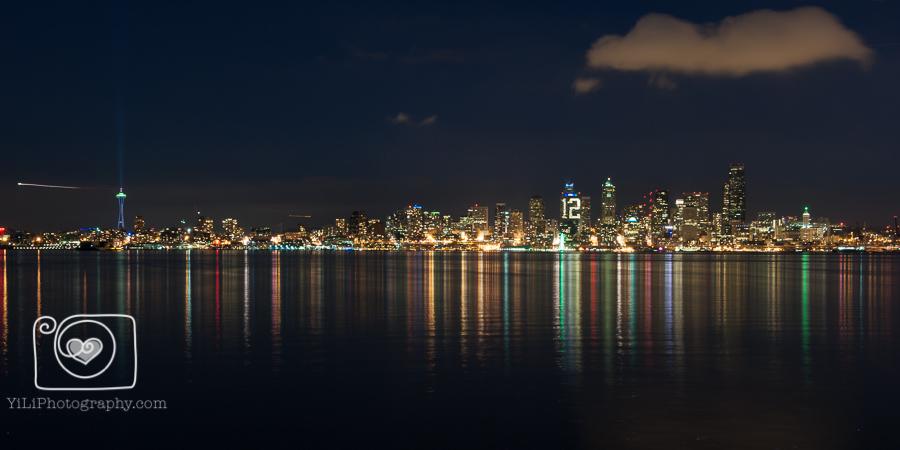 Seattle night skyline, Seattle cityscape, 12th man lights