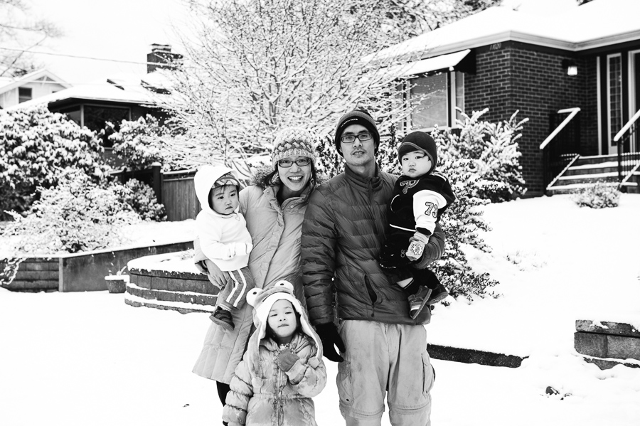 seattle family photographer, snowy photos