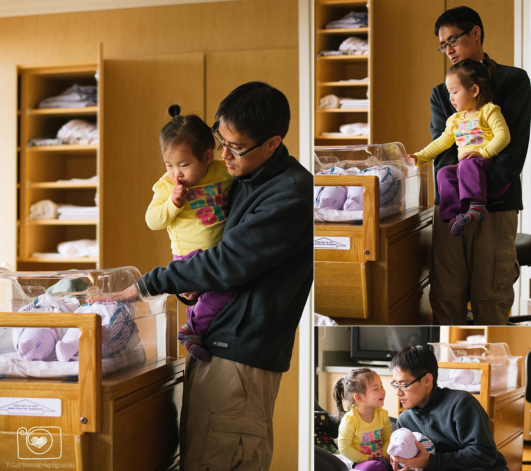 seattle hospital newborn sibling photos