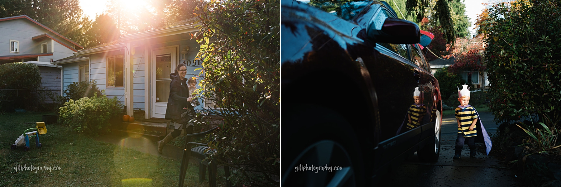 Mom holding toddler girl in front of house with sunflare and boy looking at his reflection in car