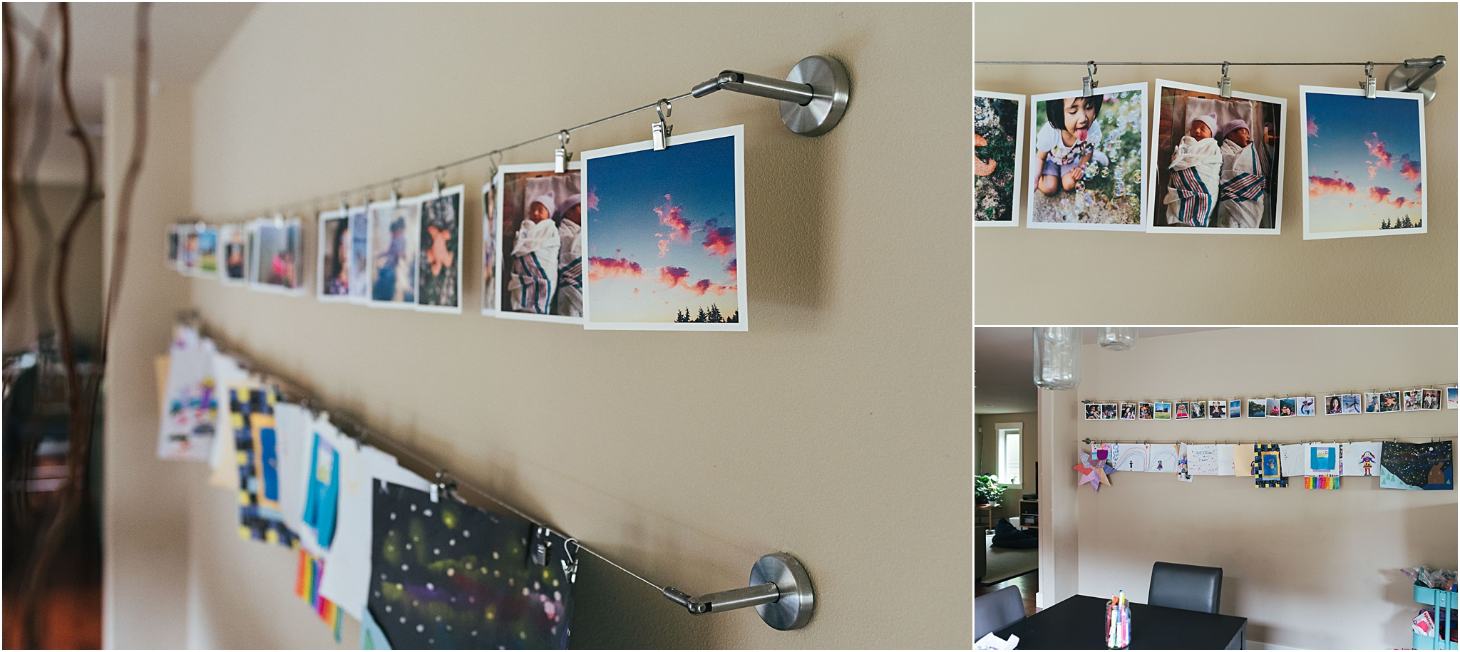wire curtain rod used a photo display in dining room