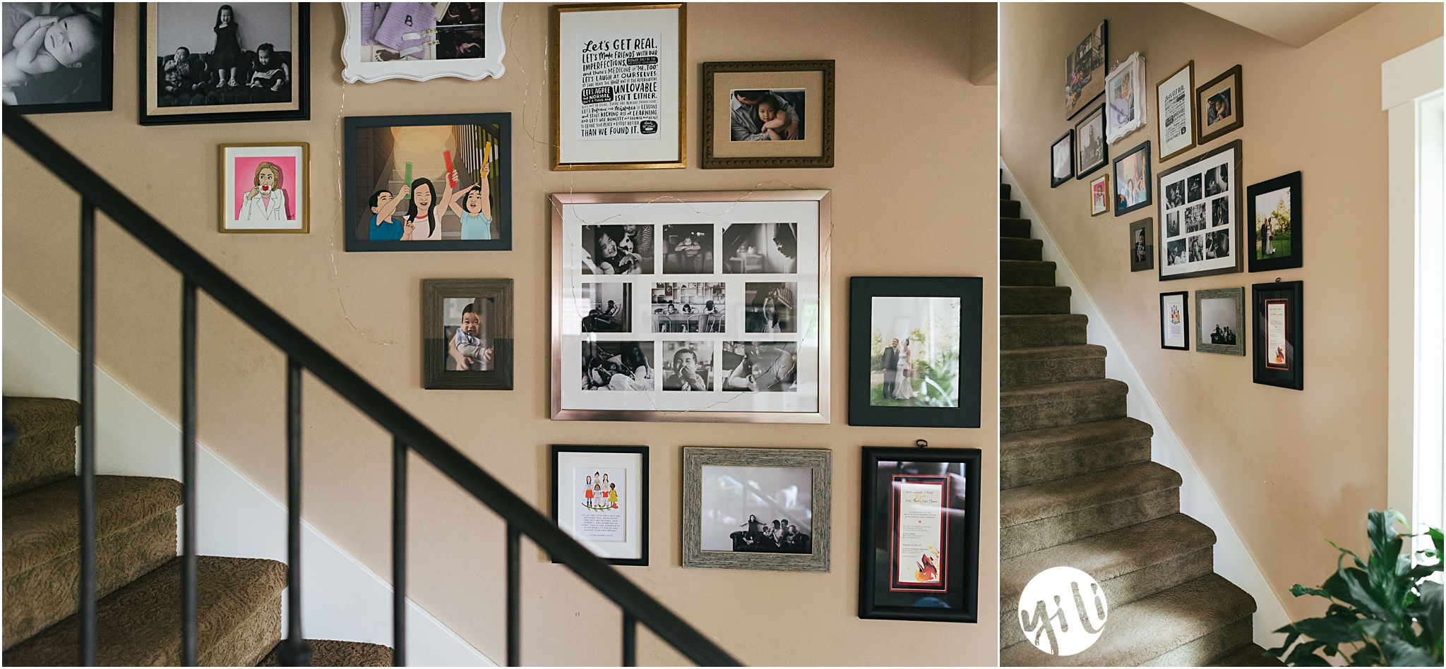 gallery wall of photos and art on stairway