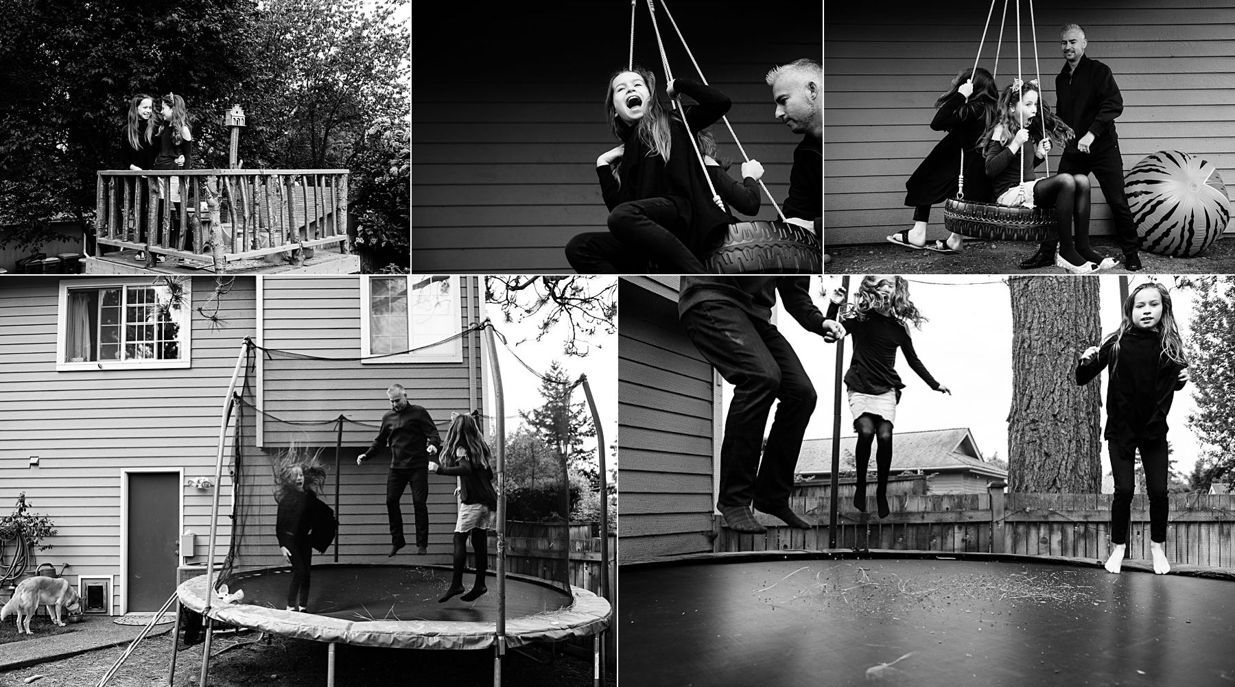 black and white collage of girls playing on tire swing and trampoline with dad in backyard