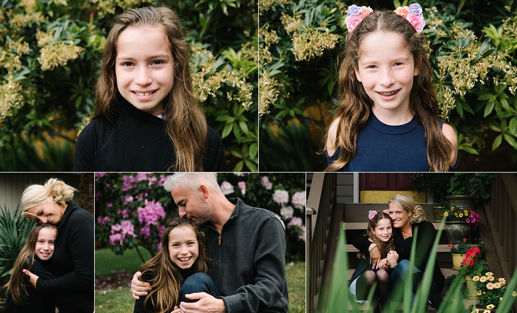 portraits of elementary aged girls and their parents