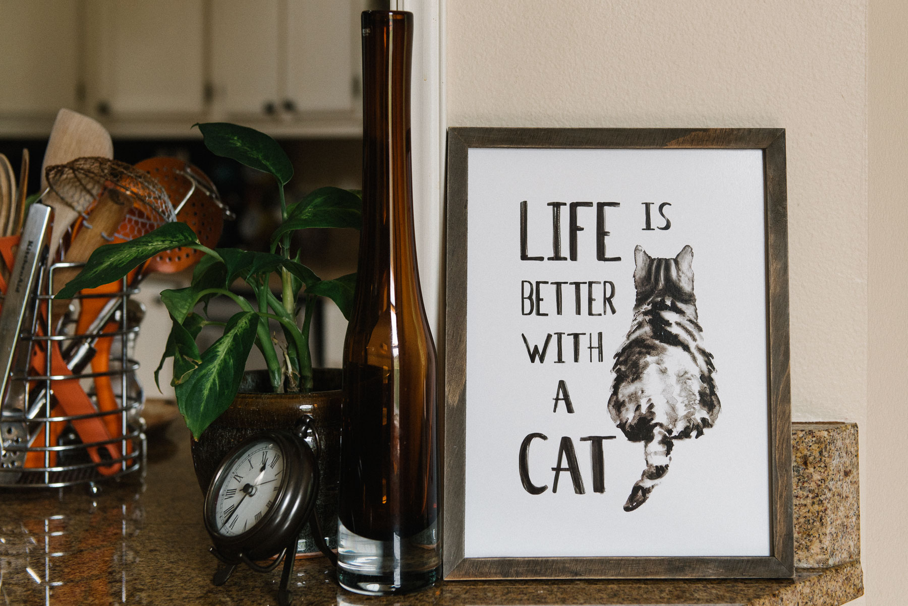 kitchen counter with cat lovers sign