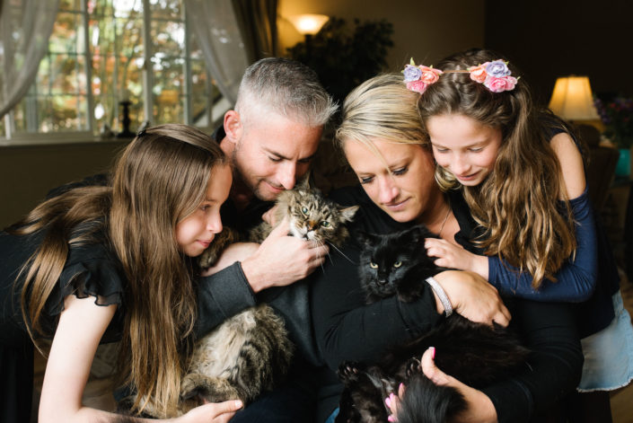family pets their two cats in living room