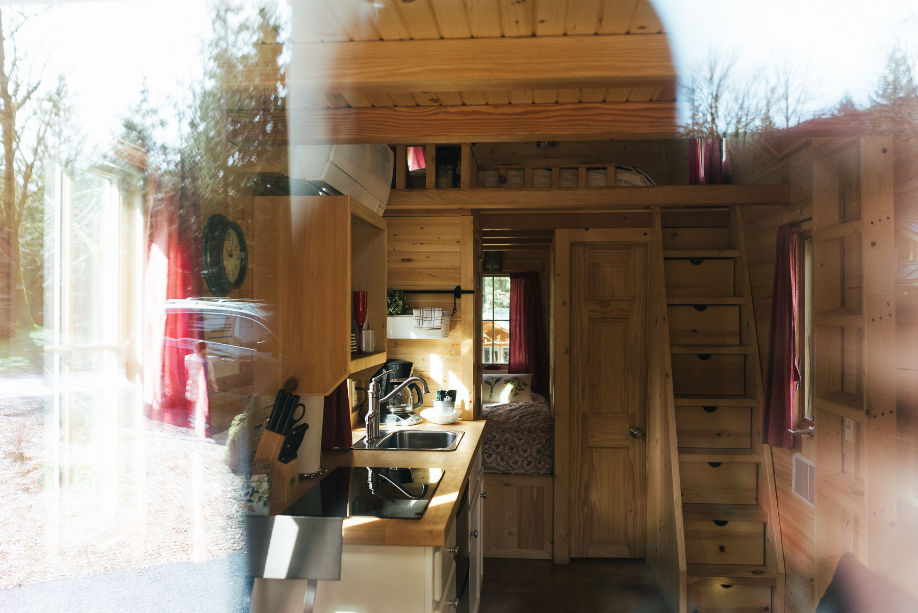 inside of tiny house through window