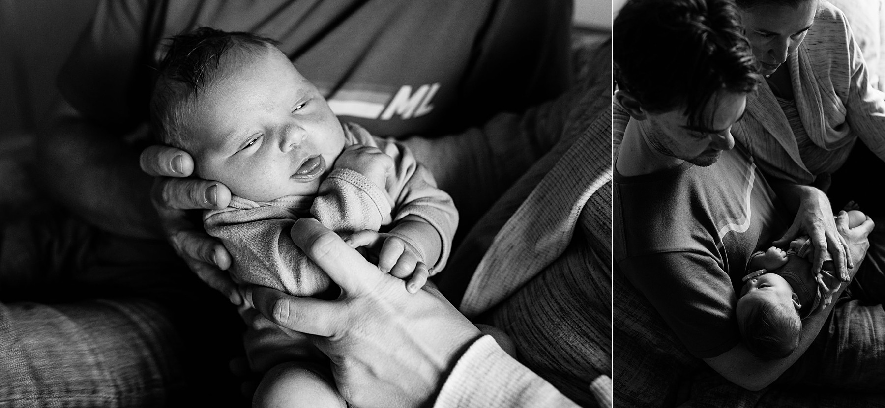black and white images of newborn baby with parents