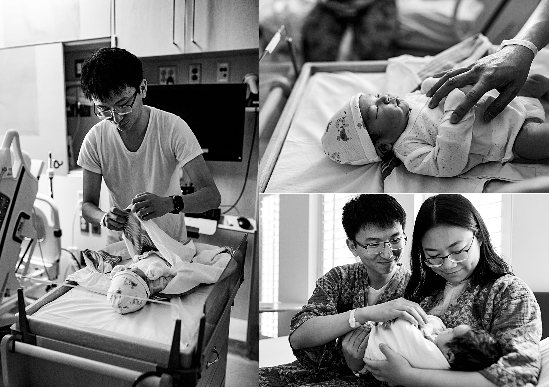parents interacting with newborn baby in hospital