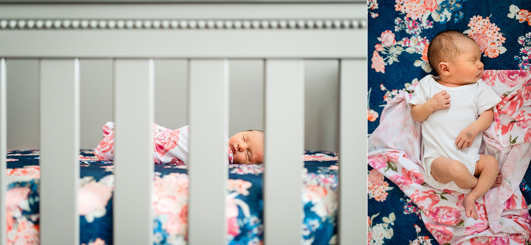 newborn baby girl sleeping in grey crib with floral sheets