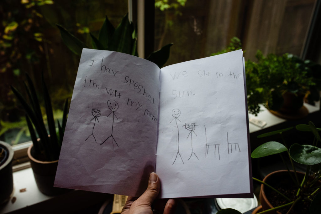 homemade book with child's handwriting