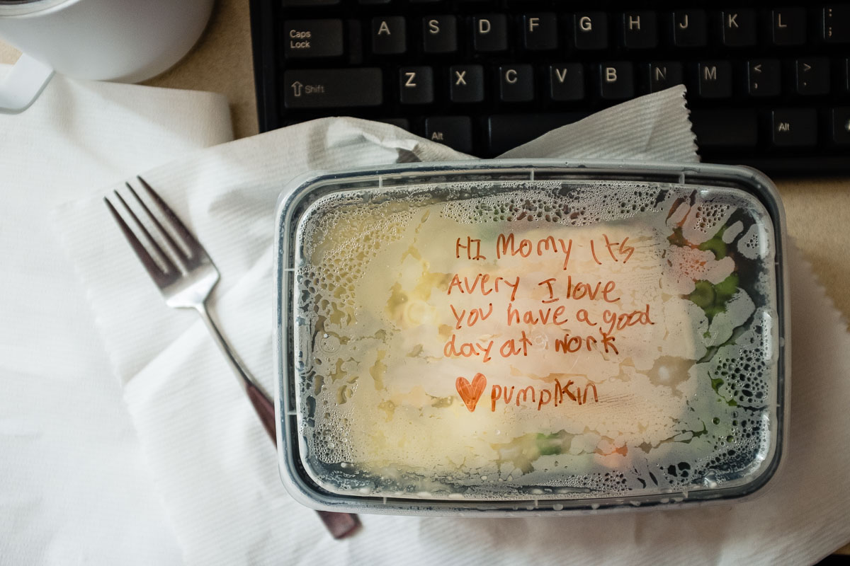 love note on takeout lunch container